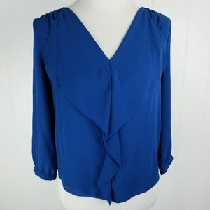 Anthropologie MAEVE Blue Ruffle Front Blouse